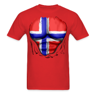 T-Shirts ~ Men's T-Shirt ~ Norway Flag Ripped Muscles, six pack, chest t-shirt