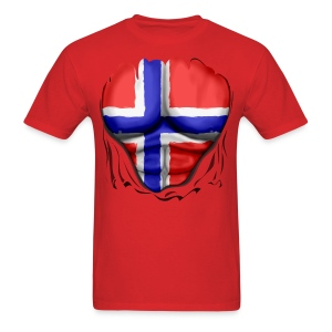 Norway Flag Ripped Muscles, six pack, chest t-shirt - Men's T-Shirt