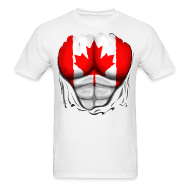 T-Shirts ~ Men's T-Shirt ~ Canada Flag Ripped Muscles, six pack, chest t-shirt