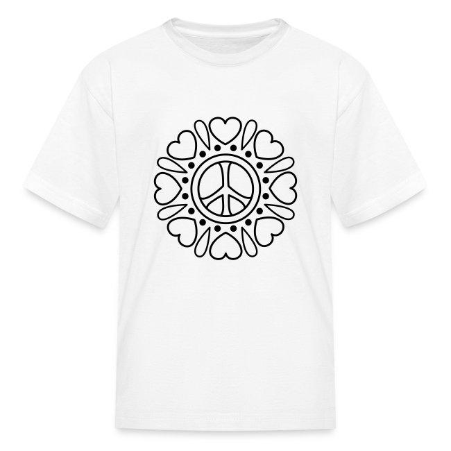 Coloring T-shirts | Hearts Flower Coloring T-shirt - Kids T-Shirt
