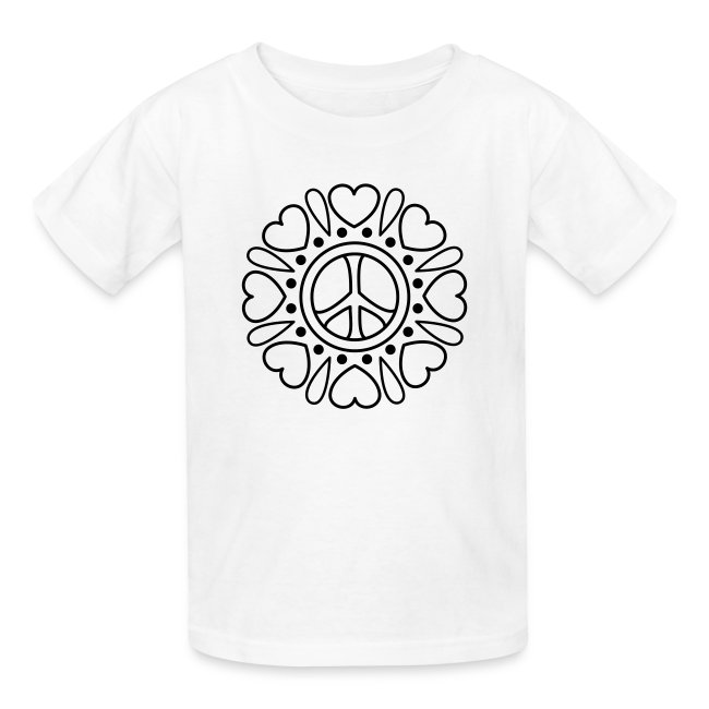 Coloring T-shirts | Hearts Flower Coloring T-shirt - Kids T-Shirt