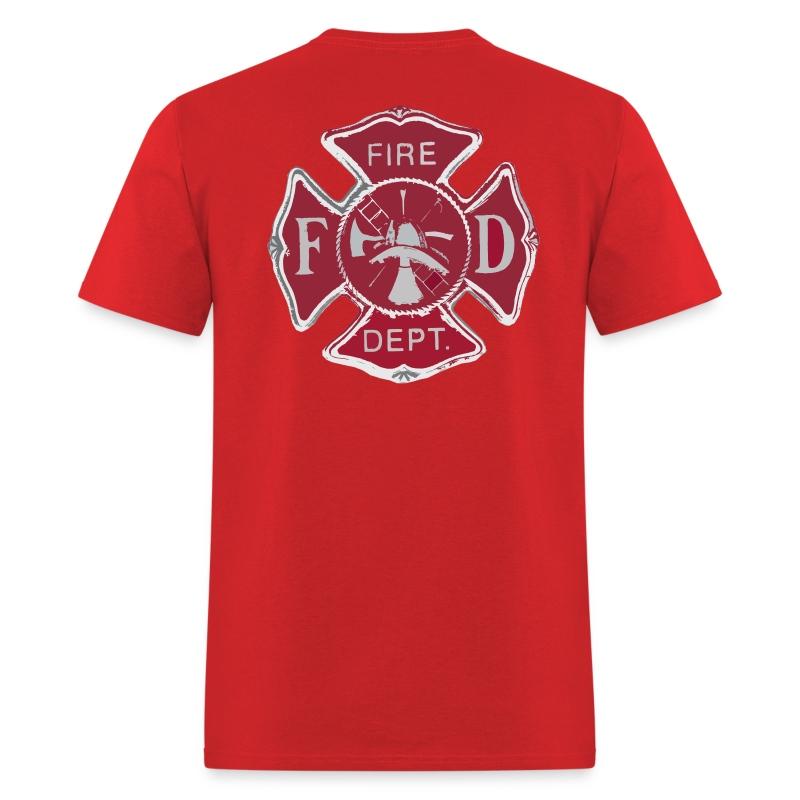 Fire dept maltese cross t shirt spreadshirt for Fire department tee shirt designs