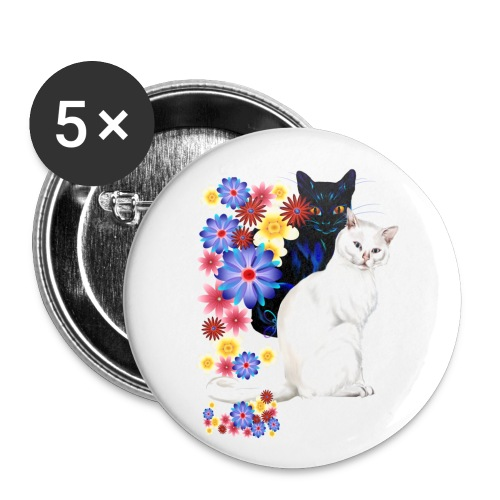 Black and White Garden Kitties - Small Buttons