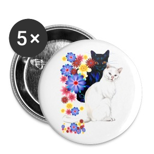 Black and White Garden Kitties - Large Buttons