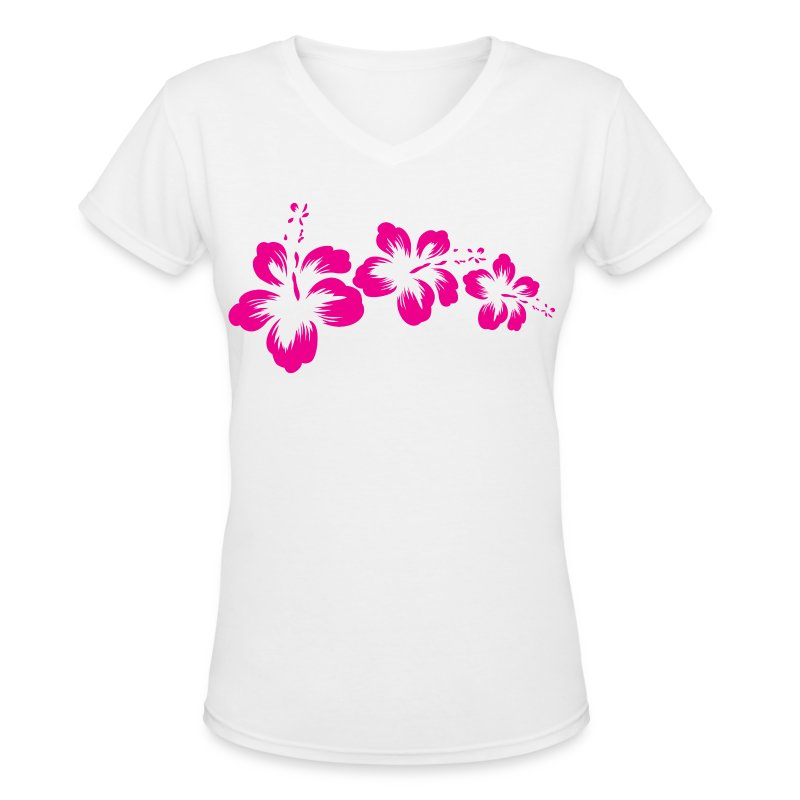 3 Hibiscus Flowers - Women's V-Neck T-Shirt