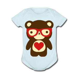 Little Bear Red - Short Sleeve Baby Bodysuit