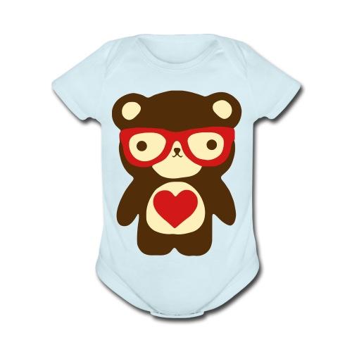 Little Bear Red - Organic Short Sleeve Baby Bodysuit