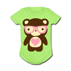Little Bear Pink - Short Sleeve Baby Bodysuit