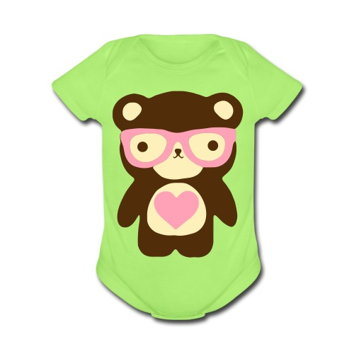 Little Bear Pink - Organic Short Sleeve Baby Bodysuit