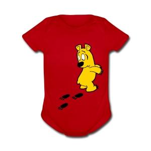 Yellow Bear - Short Sleeve Baby Bodysuit