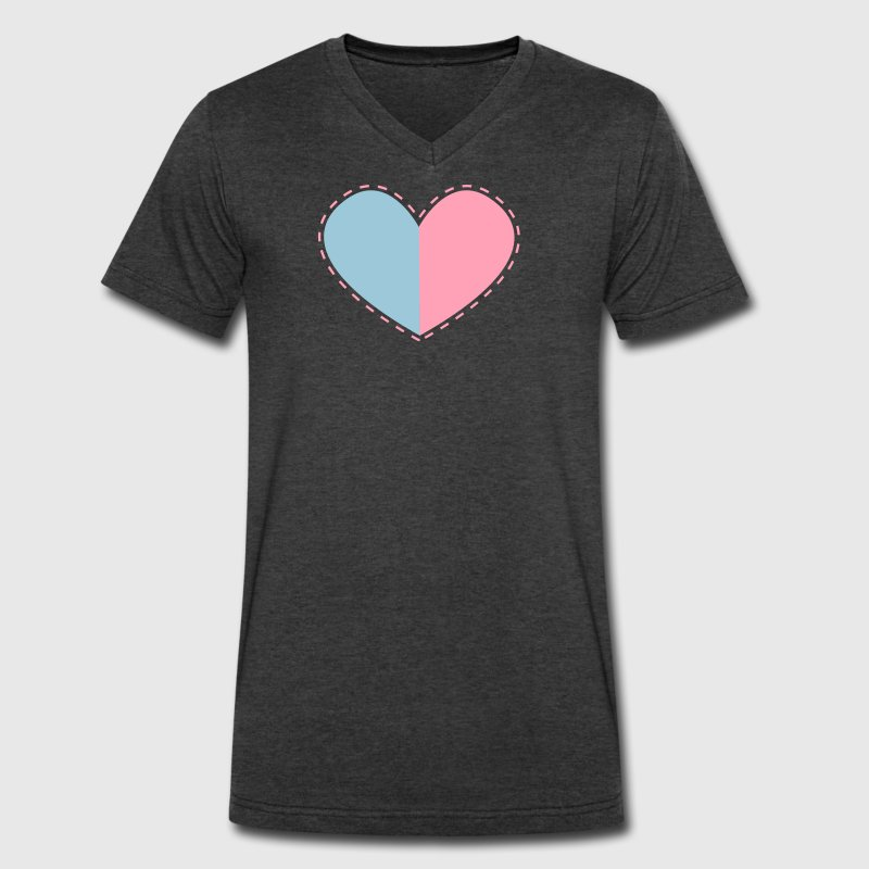 a heart divided with stitches T-Shirts - Men's V-Neck T-Shirt by Canvas