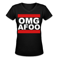 T-Shirts ~ Women's V-Neck T-Shirt ~ Run OMG V-Neck (white) - Girls