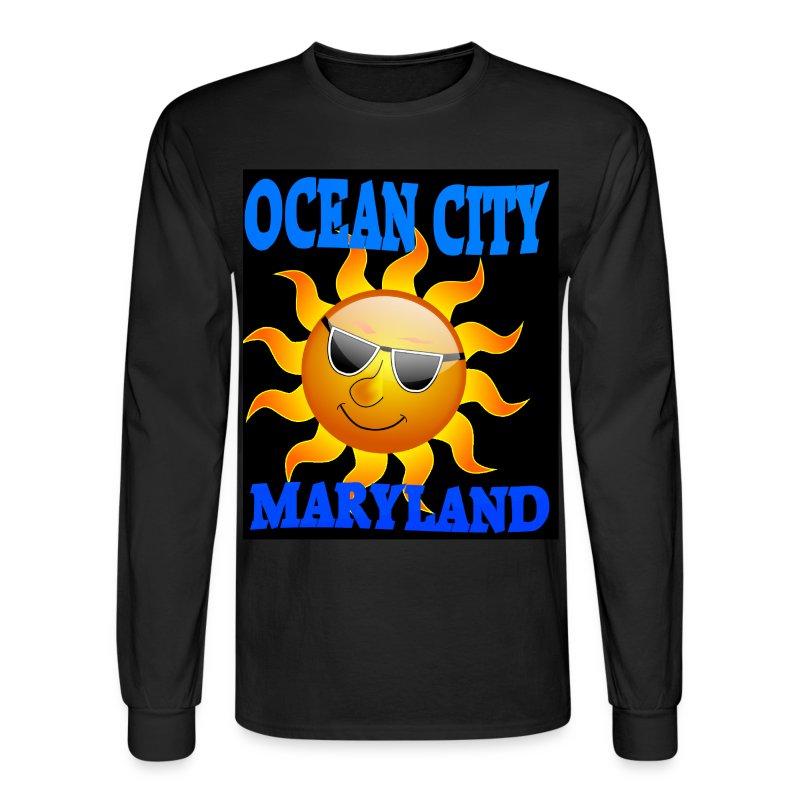 Mens black long sleeve ocean city md sun t shirt t shirt for Long sleeve sun shirt mens