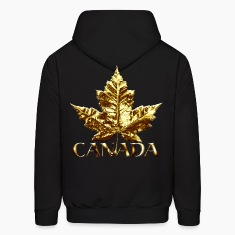 Cool Canada Hoodie Cool Chrome Gold Canada Maple Leaf Hoodie