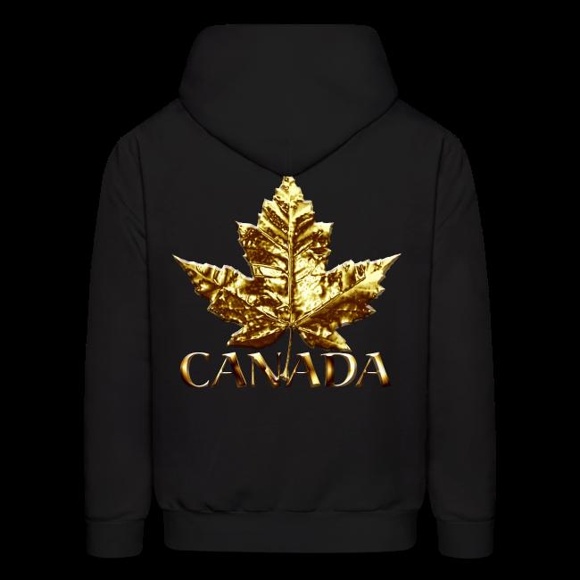 Cool Canada Hoodie Cool Chrome Gold Canada Maple Leaf Hoodie