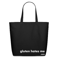 Bags & backpacks ~ Eco-Friendly Cotton Tote ~ Gluten Hates Me Grocery Tote - Black with White Text