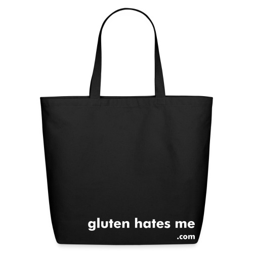 Gluten Hates Me Grocery Tote - Black with White Text - Eco-Friendly Cotton Tote