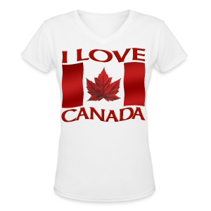 I Love Canada T-shirt Women's Shirt Canada Flag T-shirt - Women's V-Neck T-Shirt