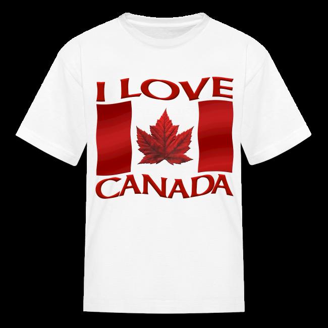 I Love Canada Kid's T-shirt Canada Flag Kid's Shirt