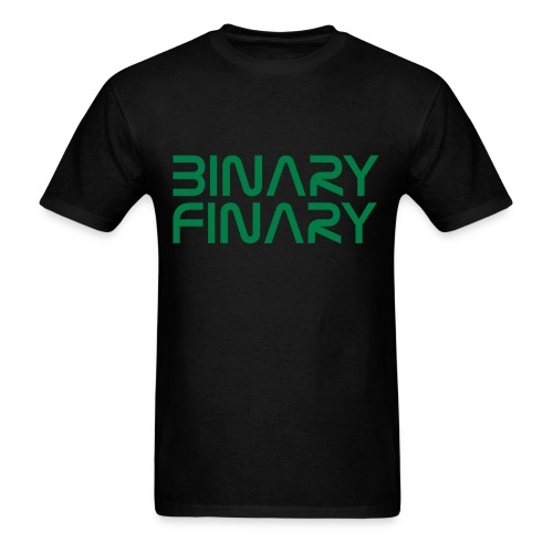 Binary Finary Logo T-Shirt (Black - Green Logo) - Men's T-Shirt