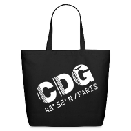 Bags & backpacks ~ Eco-Friendly Cotton Tote ~ Paris airport code France CDG barcode des. black tote / beach  bag