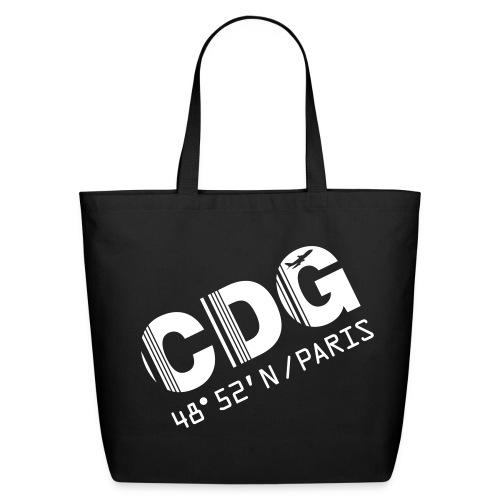 Paris airport code France CDG barcode des. black tote / beach  bag - Eco-Friendly Cotton Tote