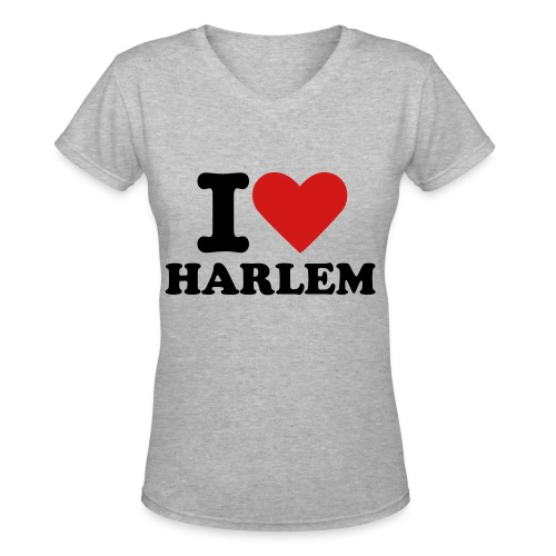 I love Harlem Tee Grey - Women's V-Neck T-Shirt
