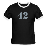 T-Shirts ~ Men's Ringer T-Shirt ~ HITCHHIKER'S GUIDE 42 T-Shirt - Ringer T-Shirt - Metallic Flex Number