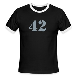 HITCHHIKER'S GUIDE 42 T-Shirt - Ringer T-Shirt - Metallic Flex Number - Men's Ringer T-Shirt