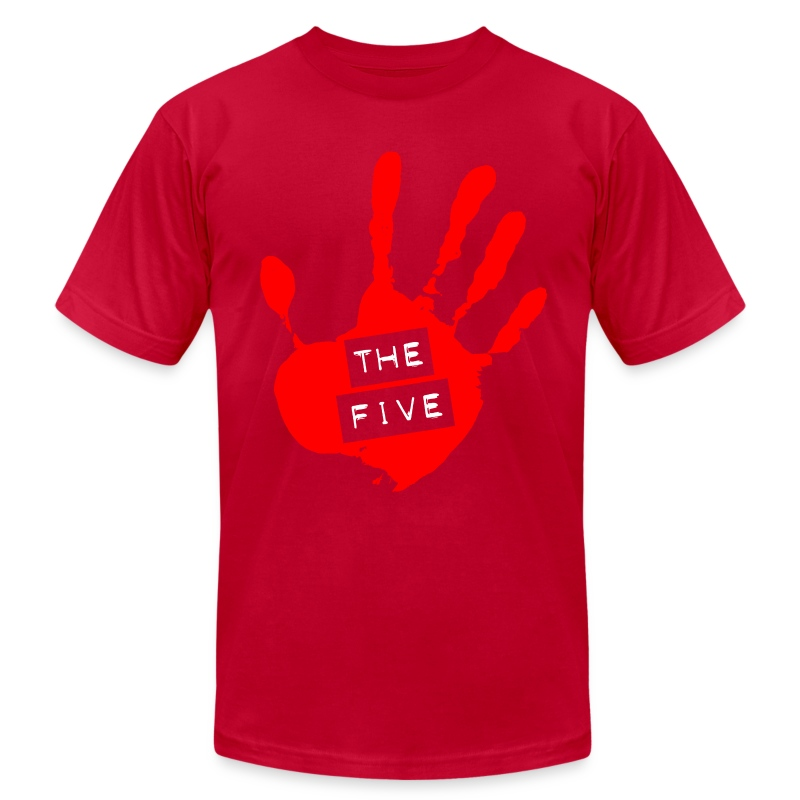 the_five_logo__red_on_transparent__brigh - Men's T-Shirt by American Apparel