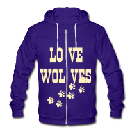 Zip Hoodies & Jackets ~ Unisex Fleece Zip Hoodie by American Apparel ~ LOVE WOLVES PRINT HOODIE