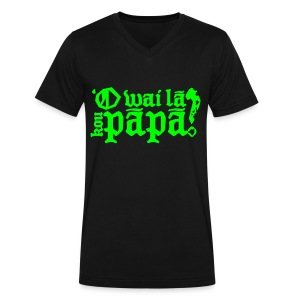 (Hawaiian) Who's your daddy? - Neon green - Men's V-Neck T-Shirt by Canvas