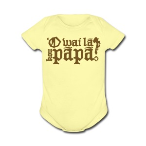 Hawaiian - Who's your daddy? - Gold glitz - Short Sleeve Baby Bodysuit