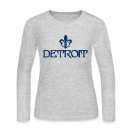 Long Sleeve Shirts ~ Women's Long Sleeve Jersey T-Shirt ~ Fleur De Lis Detroit Women's Long Sleeve Jersey T-Shirt