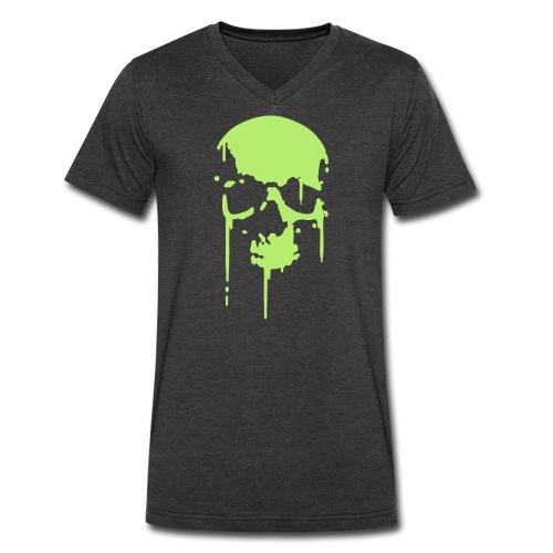 Skull V-Neck Men's Black/Grey/Navy - Men's V-Neck T-Shirt by Canvas
