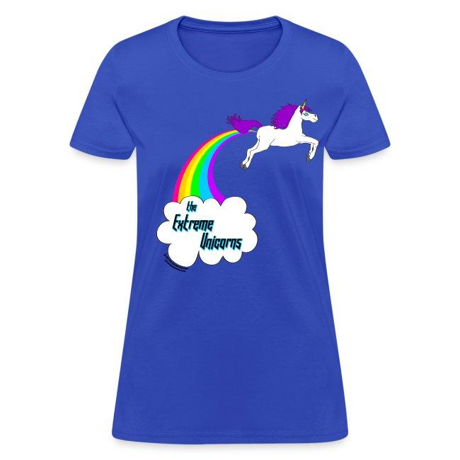 Women's rainbow farting unicorn tee