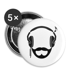 Black DJ Beard Button - Large Buttons