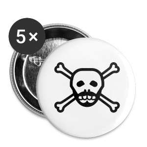 Black Skull Beard Button - Small Buttons