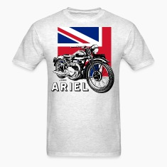 Classic ARIEL motorcycle script and illustration + Union Jack