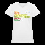T-Shirts ~ Women's V-Neck T-Shirt ~ Sessions College - Creativity Starts Here, Women's v-neck White