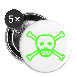 Neon Green Skull Beard Button - Large Buttons