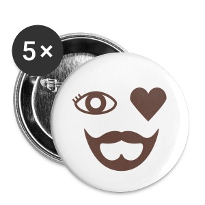 Brown Eye Heart Beard Button - Large Buttons