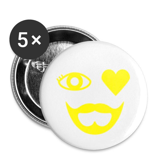 Yellow Eye Heart Beard Button
