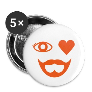 Orange Eye Heart Beard Button - Large Buttons