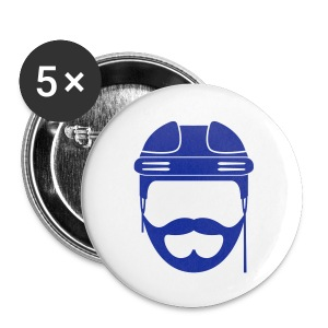 Blue Hockey Beard Button - Large Buttons