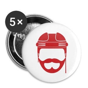 Red Hockey Beard Button - Large Buttons