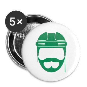 Green Hockey Beard Button - Large Buttons