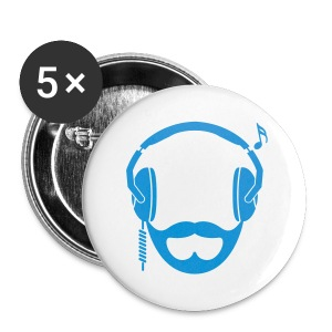 Blue DJ Beard Button - Large Buttons