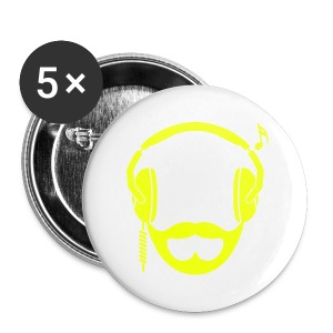 Neon Yellow DJ Beard Button - Large Buttons
