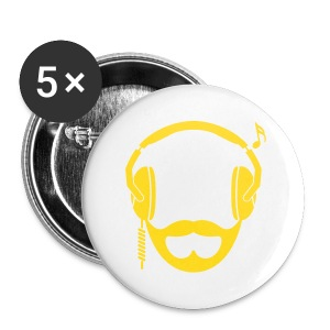 Yellow DJ Beard Button - Large Buttons